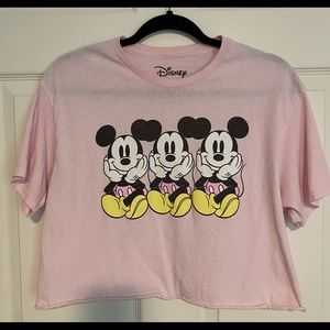 Disney pink Mickey cropped T-shirt